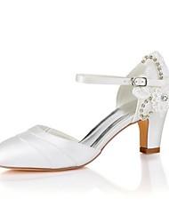 abordables -Femme Chaussures Satin Elastique Printemps Eté Escarpin Basique Chaussures de mariage Talon Bottier Bout rond Cristal Applique pour