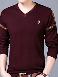 cheap -Men's Wool T-shirt - Print V Neck / Long Sleeve