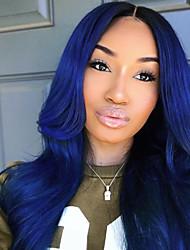 Недорогие -Бразильские волосы Естественные кудри Не подвергавшиеся окрашиванию Волосы Уток с закрытием Ткет человеческих волос Синий