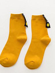 preiswerte -3 Paare Damen Socken Mittel Solide warm halten Deodorant Simple Style Baumwolle In-Rohr EU36-EU42