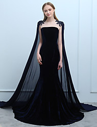cheap -Mermaid / Trumpet Jewel Neck Court Train Chiffon Velvet Formal Evening Dress with Beading Lace by SG