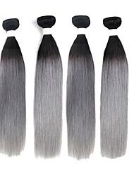 cheap -Brazilian Hair Straight Remy Human Hair Ombre Hair Weaves 4 Bundles Human Hair Weaves Black / Grey Human Hair Extensions