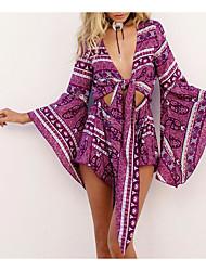 preiswerte -Damen Festtage Baumwolle Jumpsuit - Druck, Einfarbig V-Ausschnitt / Frühling / Sommer / Schleife
