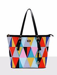 preiswerte -Damen Taschen PU Umhängetasche Taschen für Normal Alle Jahreszeiten Regenbogen Gelb-weiss