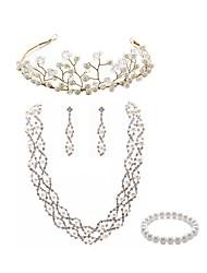Недорогие -Жен. Комплект ювелирных изделий - Искусственный жемчуг, Искусственный бриллиант европейский, Мода Включают Венки / Свадебные комплекты ювелирных изделий Белый Назначение Свадьба / Для вечеринок