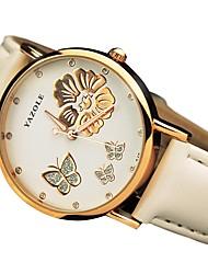 baratos -Mulheres Quartzo Relógio de Pulso Japanês Relógio Casual Couro Banda Casual Fashion Preta Branco Vermelho Marrom