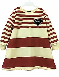 cheap -Girl's Daily Color Block Stripes/Ripples Dress, Cotton Spring Fall Long Sleeves Casual Red