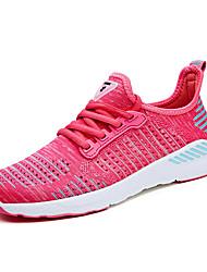 economico -Per donna Scarpe Tulle Primavera / Autunno Comoda scarpe da ginnastica Corsa Piatto Punta tonda Grigio / Fucsia / Nero / Rosso