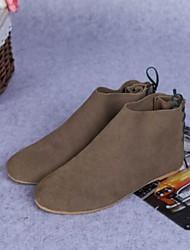 preiswerte -Damen Schuhe Nappaleder PU Winter Herbst Komfort Stiefel Flacher Absatz Geschlossene Spitze Mittelhohe Stiefel für Normal Draussen