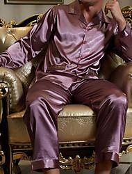 abordables -Costumes Pyjamas Homme, Couleur Pleine Opaque Polyester Bleu Gris Violet