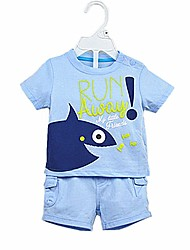 cheap -Baby Boys' Daily Solid Clothing Set, Cotton Summer Casual Short Sleeve Light Blue