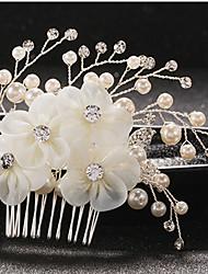 cheap -Chiffon / Imitation Pearl / Rhinestone with Rhinestone / Imitation Pearl / Lace 1pc Wedding Headpiece