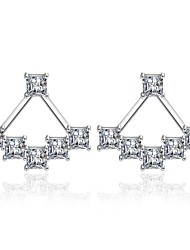 cheap -Women's Cubic Zirconia Front Back Earrings / Ear Jacket - Star Basic, Fashion Silver For Daily / Ceremony