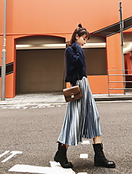 cheap -Women's Sports Midi Skirts,Casual Swing Linen Print Autumn/Fall