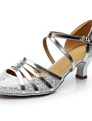 cheap -Women's Modern Shoes Sparkling Glitter / Paillette Heel Customized Heel Customizable Dance Shoes Gold / Silver / Indoor