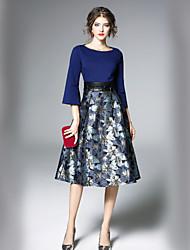 Недорогие -Жен. Офис Уличный стиль А-силуэт Платье - Контрастных цветов Средней длины