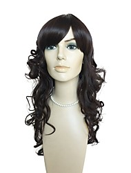 cheap -Synthetic Wig Curly Layered Haircut / With Bangs Synthetic Hair Natural Hairline Black Wig Long Capless Black