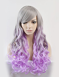 cheap -New fashion wig long silver gradient wavy high temperature silk wig