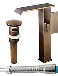 abordables -Antique Set de centre Jet pluie Soupape céramique Mitigeur un trou Cuivre antique, Robinet lavabo
