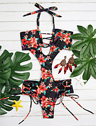 cheap -Women's Floral Floral Lace Up Halter Monokini Swimwear Green Black