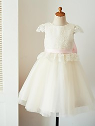 cheap -Ball Gown Knee Length Flower Girl Dress - Lace Tulle Short Sleeves Jewel Neck with Appliques Bow(s) Sash / Ribbon by Thstylee