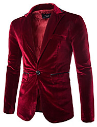 cheap -Men's Velvet Blazer - Solid Colored Notch Lapel