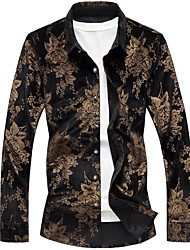 cheap -Men's Going out Vintage Shirt,Print Shirt Collar Long Sleeves Cotton