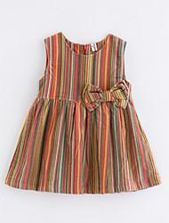 Недорогие -Девичий Платье Полоски Весна Активный Цвет радуги