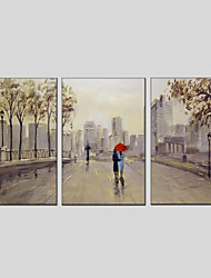cheap -Hand-Painted Landscape Vertical Panoramic, Modern Oil Painting Home Decoration Three Panels