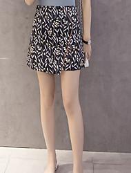 preiswerte -Damen Retro Alltag Mini Röcke A-Linie,Baumwolle Druck Frühling Sommer