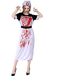 abordables -Enfermera Disfrace de Cosplay Mujer Halloween Festival / Celebración Disfraces de Halloween Blanco Halloween Halloween