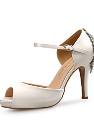 economico -Per donna Scarpe Brillantini / Seta Primavera / Estate Comoda Sandali A stiletto Punta aperta Con diamantini Nero / Beige / Blu
