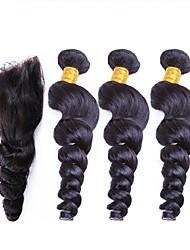 Недорогие -3 комплекта с закрытием Перуанские волосы Свободные волны 10A Не подвергавшиеся окрашиванию Человека ткет Волосы Ткет человеческих волос Расширения человеческих волос