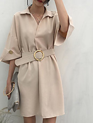 cheap -Women's Going out Cotton A Line Dress - Solid Colored Shirt Collar / Spring / Fall