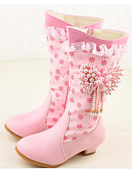 cheap -Girls' Shoes Synthetic Microfiber PU Winter Fall Fashion Boots Comfort Boots Mid-Calf Boots for Casual White Pink