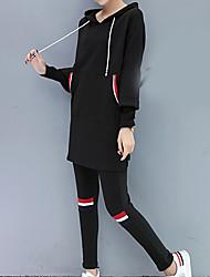 abordables -Mujer Noche Conjunto - Un Color Con Capucha Pantalón