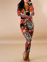 abordables -Femme Vacances Bohème Combinaison-pantalon Fleur Taille haute Col en V