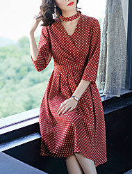 cheap -Women's Daily Street chic Sheath Midi Dress, Polka Dot V Neck 3/4 Length Sleeves Spring