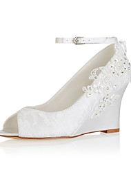cheap -Women's Shoes Stretch Satin Spring / Summer Basic Pump Wedding Shoes Wedge Heel Peep Toe Crystal / Pearl / Buckle Ivory / Party & Evening