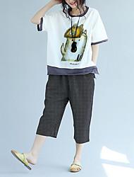 preiswerte -Damen Solide Tier-Niedlich T-shirt