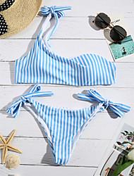 abordables -Femme A Bretelles Bandeau Bikinis - Imprimé, Rayé Slip Brésilien