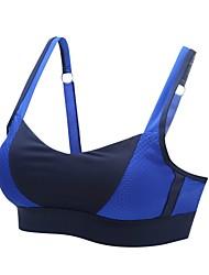 baratos -Sutiã Esportivo Acolchoado Sustentação Leve Para Ioga - Branco / Azul Esticar Mulheres Fibra Sintética