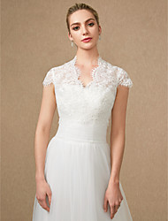 cheap -Short Sleeve Lace / Tulle Wedding / Party / Evening Women's Wrap With Appliques / Lace / Zipper Shrugs