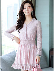 cheap -Women's Going out Cotton A Line Lace Dress - Solid Colored V Neck