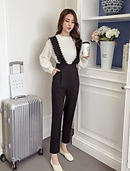 economico -Da donna A vita alta Semplice sofisticato Media elasticità magro Tuta da lavoro Pantaloni,Tinta unita Altro Autunno