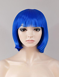 abordables -Pelucas sintéticas Recto Pelo sintético Azul Peluca Mujer Corta Sin Tapa