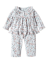 Недорогие -Дети (1-4 лет) Девочки На каждый день Повседневные Однотонный С короткими рукавами Обычная Шерсть / Хлопок / Бамбуковая ткань Набор одежды Розовый