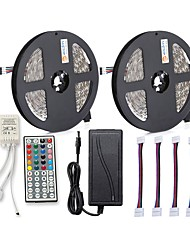 cheap -ZDM 2x5M 150x5050 RGB LED Strip Light 44Key IR Controller 12V 6A Power Supply with 4PCS Connecting line