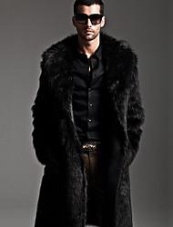 cheap -Men's Street chic Long Faux Fur Fur Coat - Solid Colored