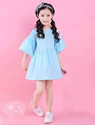 cheap -Girl's Daily Going out Solid Jacquard Dress, Cotton Summer Half Sleeves Simple Cute Active Blue Purple
